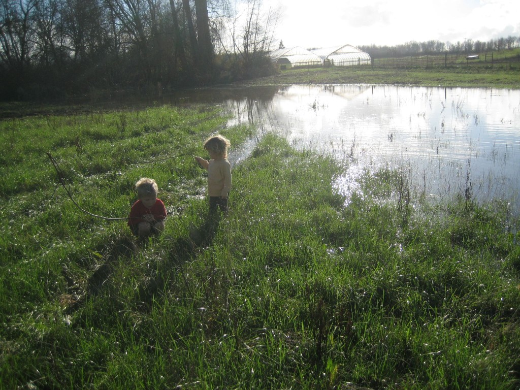 When the river came up and the sun came out, the kids played along (and in) the edge of the waters.