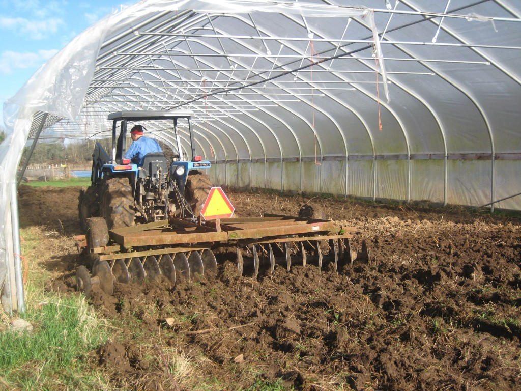 Casey works up one of our older high tunnel greenhouses to begin the planting process.