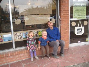 "The kids have been ""helping"" us transform our storefront into an awesome CSA pick-up / farmstand space."