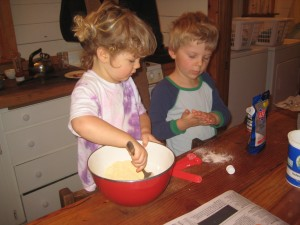 This weekend's special kid activities included making corn pancakes with Papa — our favorite use for our farm made corn flour!