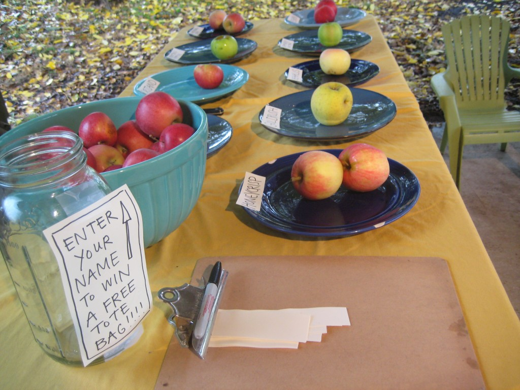 Our apple variety tasting all ready for folks to arrive -- if they can brave the rain!