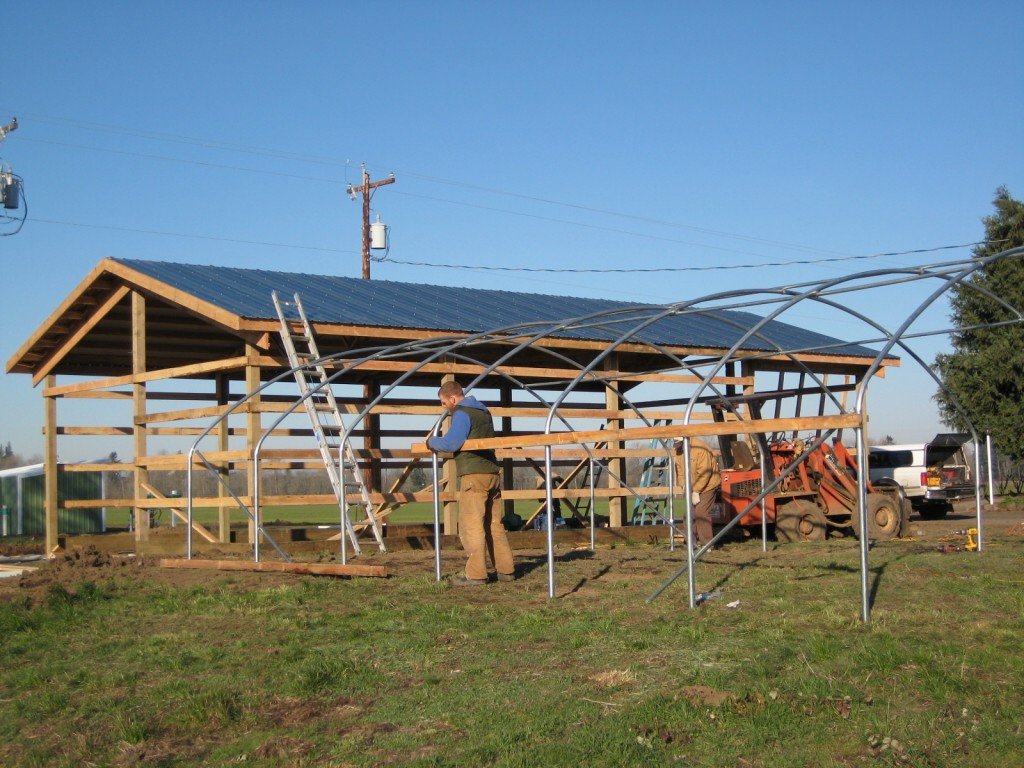 2008 - So much of our winter time in the early days was spent developing our infrastructure. We built our pole barn and greenhouses for starts.