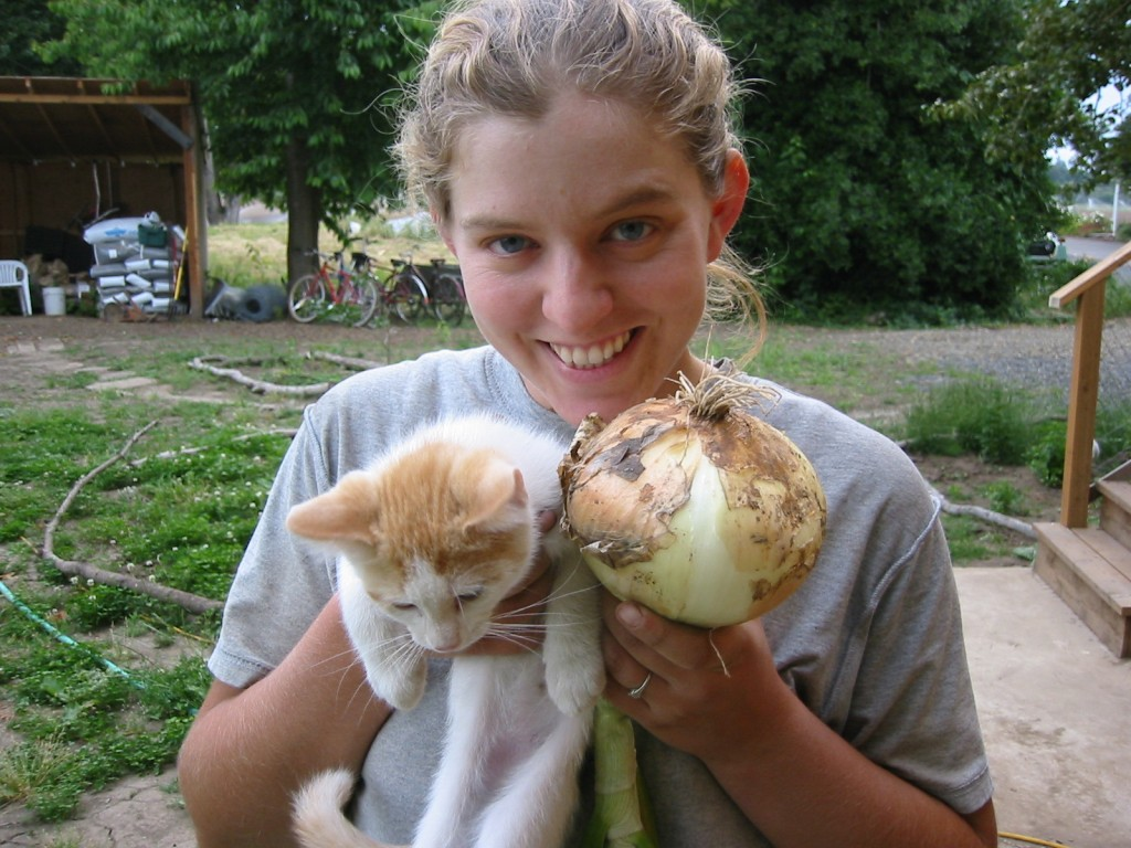 2007 - That summer our over-wintered sweet onions were bigger than our kittens.