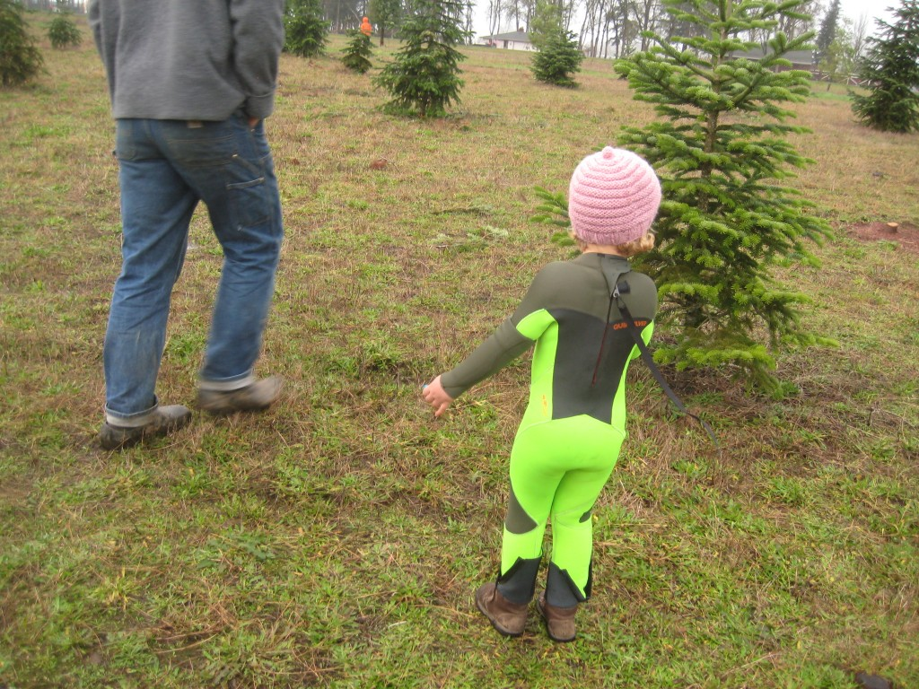 I am pretty sure Dottie is possibly the only three year-old to have ever worn a wetsuit on a Christmas tree cutting outing in Oregon. Pretty sure, anyway.