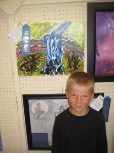 Rusty with his blue ribbon waterfall painting