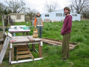 Casey and Jonny building stuff on our first rented land in 2006 ... ten years ago!