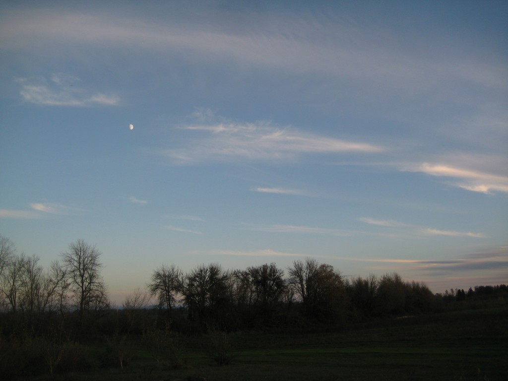 November evening sky over the farm