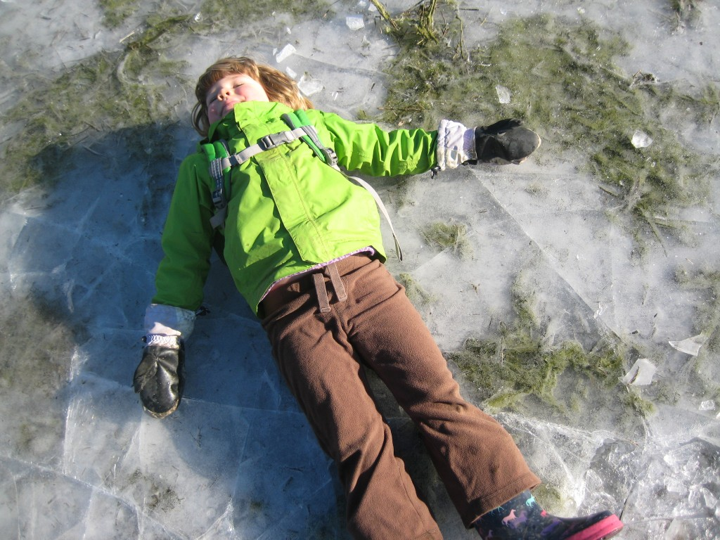 And, apparently it was even fun to lie down on the ice! I'm sure the brilliant winter sun helped!