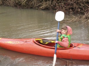 Dottie's paddling is not as effective yet as Rusty's, but she can get out there anyway!